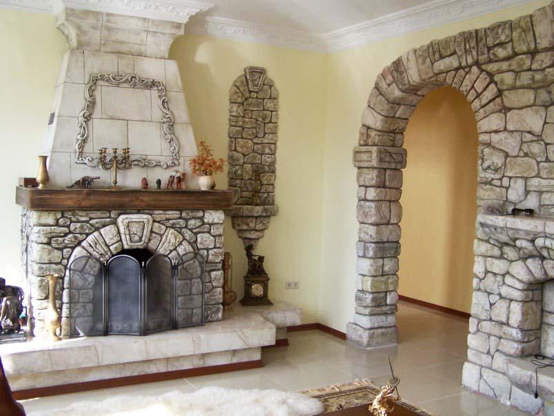 Дизайн камина из кирпича фото