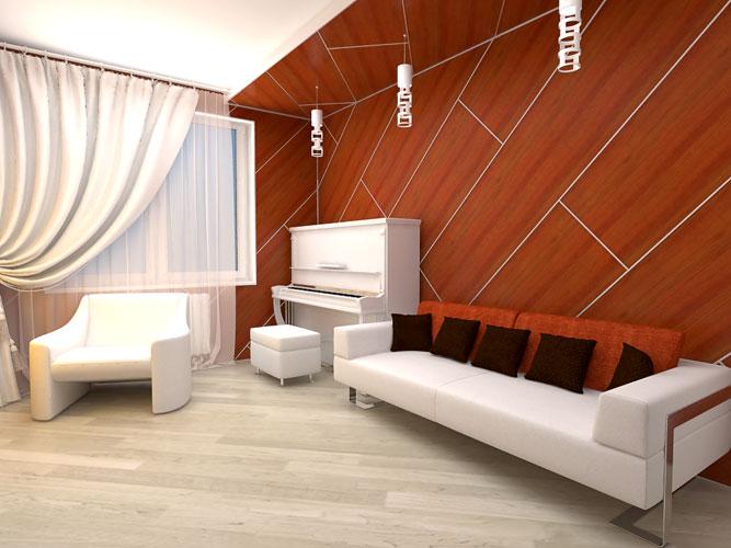 Интерьер комнаты стеновые панели